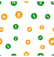 bitcoin and dollar coins seamless pattern vector image vector image