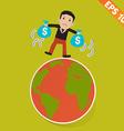 Cartoon Businessman walking on the earth - - vector image