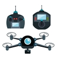 cartoon drone and controls graphic isolated vector image vector image