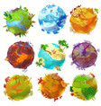 cartoon earth planets set vector image vector image