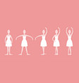 cartoon five basic ballet positions set vector image vector image