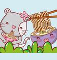 cat and japan food kawaii vector image vector image
