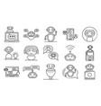 chatbot icons set outline style vector image