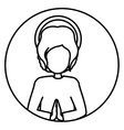 Circular silhouette half body baby jesus
