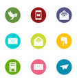 correspondence icons set flat style vector image vector image
