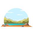 cropped natural landscape on white background vector image vector image