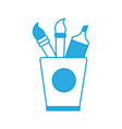 cup with drawing utensils icon vector image