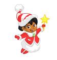 cute cartoon christmas afro-american or arab angel vector image