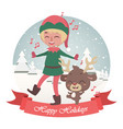 cute christmas greeting with singing jolly elf vector image