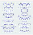 decorative ornaments blue elements on notebook vector image
