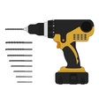 Electric drill and bits vector image