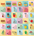 farming equipment garden icons set flat style vector image