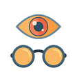 fashion glasses and eye symbol vector image vector image