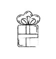 figure present gift with ribbon bow design vector image