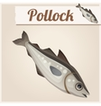 Fresh pollock fish Detailed Icon vector image vector image