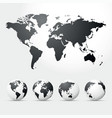 globes and map of world vector image vector image