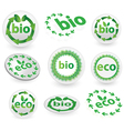 green eco and bio icons vector image vector image