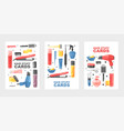 hair stuff set cards posters vector image vector image
