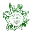 Hand Drawn Natural Cosmetics Label vector image