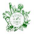 Hand Drawn Natural Cosmetics Label vector image vector image
