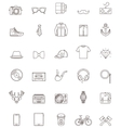 Hipster contour icon set vector image