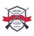 hunting club vintage logo with two old rifles vector image vector image