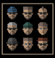 knitted flat icons set of men hipster style vector image vector image
