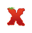 letter x strawberry font red berry lettering vector image vector image