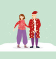 merry christmas couple with warm clothes in the vector image