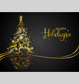 modern gold on black christmas greeting card vector image vector image