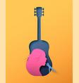 papercut woman singer in guitar music instrument vector image vector image