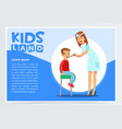 pediatrician looking at boy s throat with tongue vector image vector image