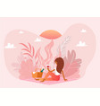 picnic outdoor in nature pink landscape romantic vector image vector image
