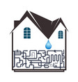 plumbing and piping in the house vector image vector image