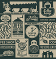 seamless pattern on theme coffee houses vector image vector image