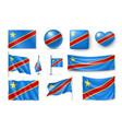 set democratic republic of the congo flags vector image vector image