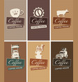 set of business cards on the theme of coffee house vector image vector image