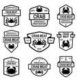 set of crab meat emblems design element for logo vector image