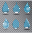 set of realistic transparent drops in blue colors vector image