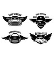 set taxi service emblems signs with winged vector image
