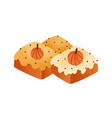 sweet pumpkin cakes pies flat vector image