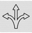 Three-way direction arrow sign vector image