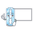 thumbs up with board razor blade isolated on a vector image vector image