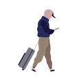 traveling man with suitcase cartoon male vector image