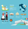 traveling to italy by landmarks map vector image vector image