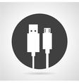 USB plug black round icon vector image vector image