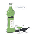vermouth alcoholic beverage in bottle and glass vector image vector image