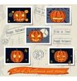 Vintage halloween post stamps set vector image vector image