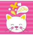 Wheite kitten pink striped vector image vector image