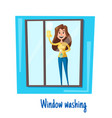 window washing woman house cleaning concept vector image vector image
